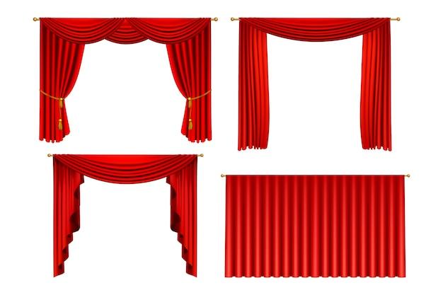 白で隔離の現実的なカーテンのセット