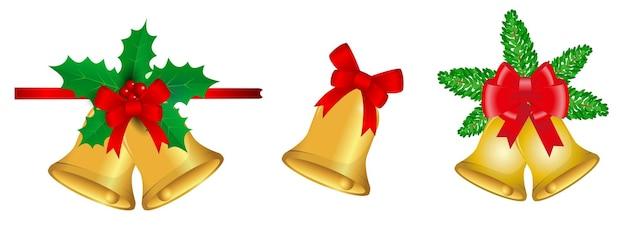 현실적인 장식 크리스마스 절연 또는 디자인 요소 크리스마스 테마 또는 크리스마스 리본 세트