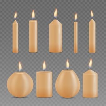 현실적인 다른 빛나는 촛불의 집합입니다. 3d 컬렉션 촛불 절연입니다. 프리미엄 벡터