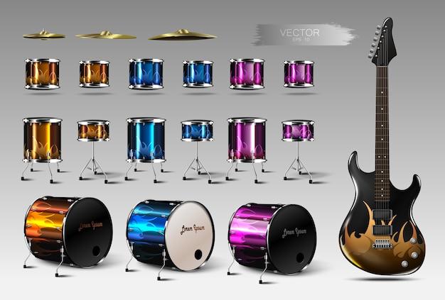 リアルなドラムとエレキギターのセット。