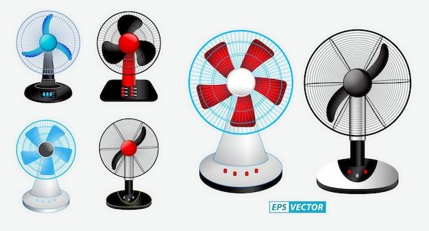 さまざまな色で分離されたリアルな扇風機のセット