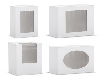 Set of realistic empty cardboard boxes with transparent windows