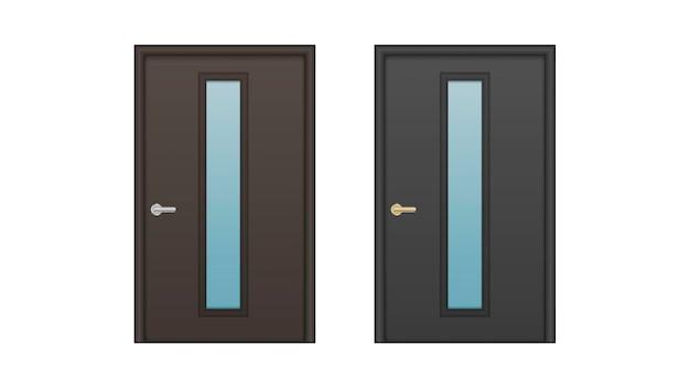 ガラスインサート付きのリアルな玄関ドアのセット