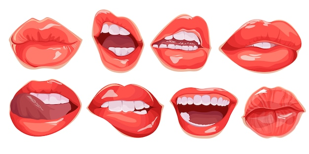 현실적인 여성 입술의 집합입니다. 입 세트