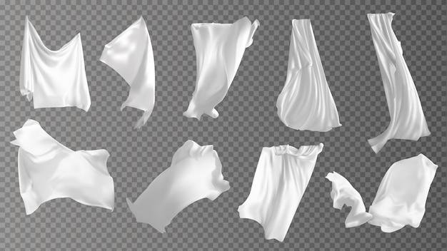 Набор реалистичных развевающиеся белые ткани.