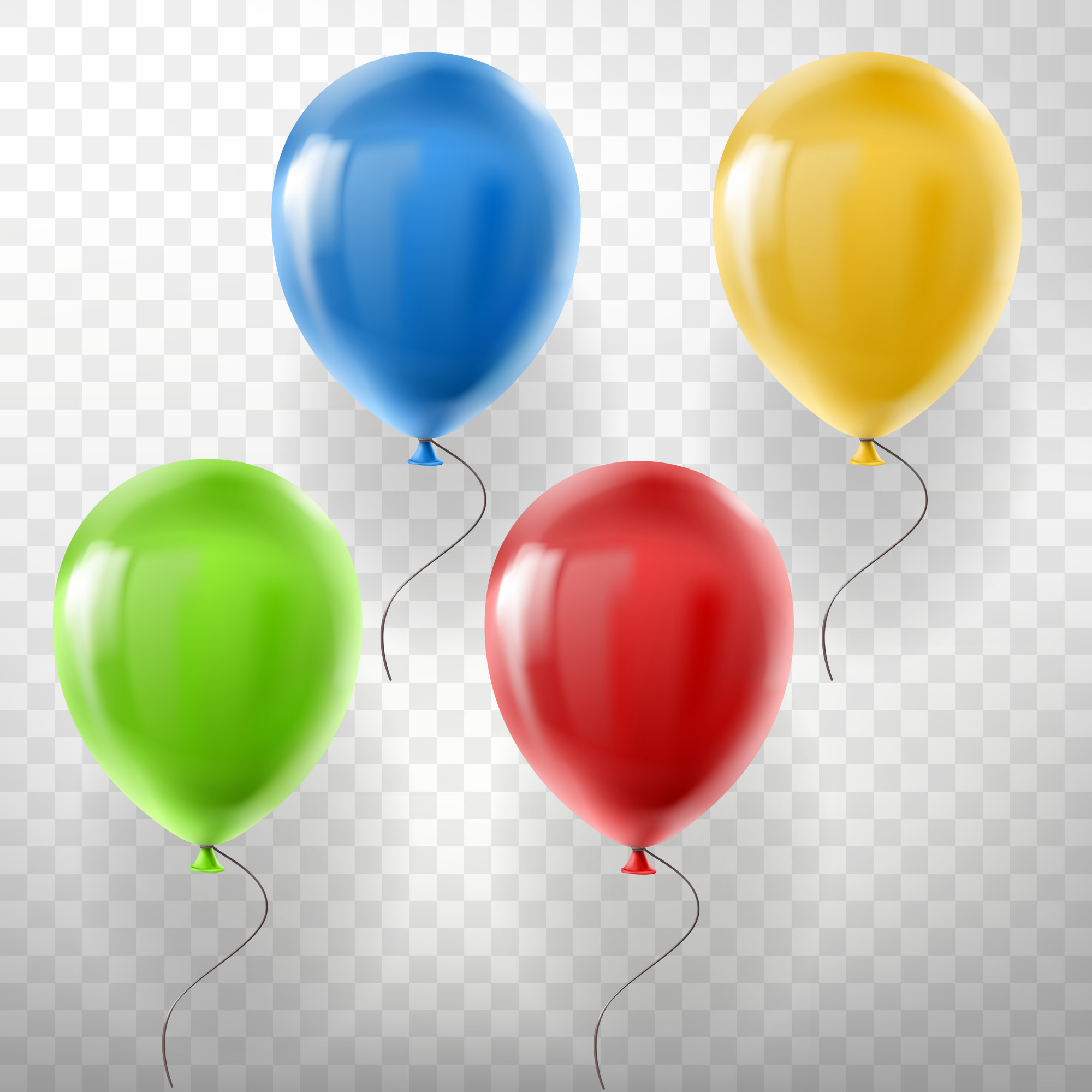 Set of realistic flying helium balloons, multicolored, red, yellow, green and blue