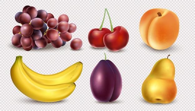 透明な背景に分離されたリアルな果物のセット。バナナ、ブドウ、チェリー、ピーチ、プラム、ナシ。ジューシーなフルーツとベリーの収穫3d。ベクトルイラスト