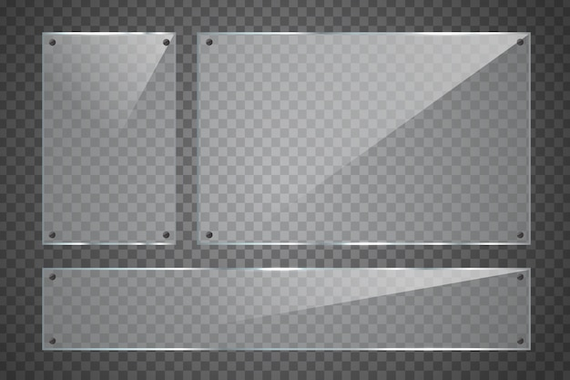 装飾とカバーのための透明な背景に現実的なガラス看板のセット。