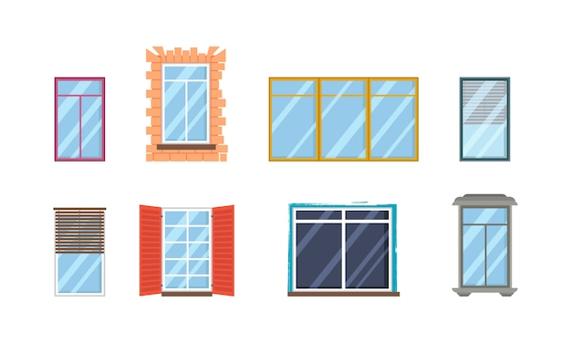 Набор реалистичных стеклянных прозрачных пластиковых окон с подоконниками. архитектурное проектирование здания. коллекция различных видов белых окон для внутреннего и наружного использования в плоском стиле.