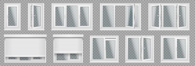 窓枠、サッシ付きのリアルなガラス透明プラスチック窓のセット。白い家、オフィスの窓、さまざまなセクション、ローラーブラインド、調整用ハンドル。ベクトルイラスト。