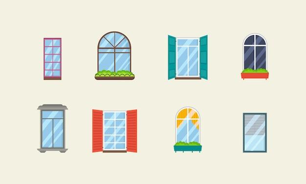 Набор реалистичных стеклянных прозрачных пластиковых окон с подоконниками
