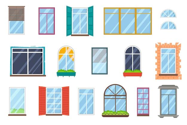 Набор реалистичных стеклянных прозрачных пластиковых окон с подоконниками.