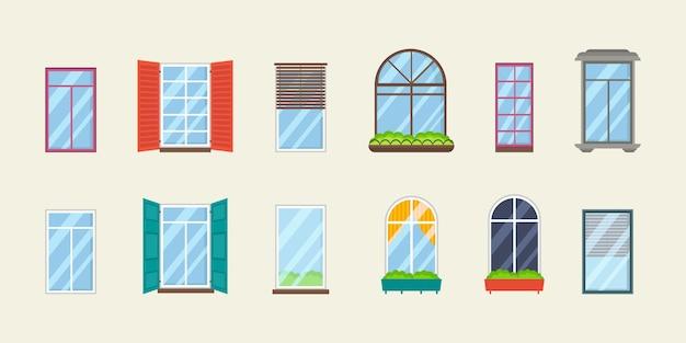 Набор реалистичных стеклянных прозрачных окон с подоконниками.