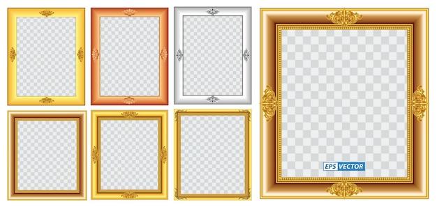 現実的なゴールドフレームテンプレート分離またはゴールドウッドフレームレトロスタイルまたはビンテージゴールド写真のセット