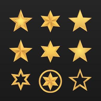Набор реалистичной золотой звезды, изолированной на черном Premium векторы