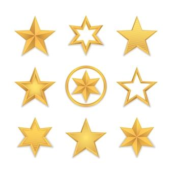Набор реалистичной золотой звезды, изолированной на белом Premium векторы