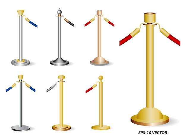 현실적인 황금 바리케이드 세트 또는 스탠드 장벽 로프 절연 eps 벡터