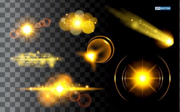 リアルな金色の輝く光または輝く星の太陽の粒子またはレンズフレアのある光のセット