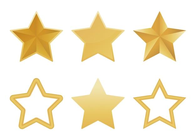 白い背景の上の現実的なゴールデンスターのセットです。光沢のあるクリスマスの星のアイコン。図。