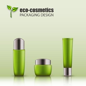 エコ化粧品用のシルバーキャップ付きの現実的なグリーンガラスボトルのセット
