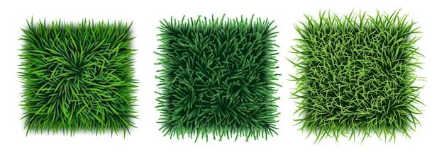 Набор реалистичных текстур зеленой травы с ковром из свежего дерна, полем или лужайкой, видом сверху. бесшовный фон из органических эко цветочные текстуры с листьями. 3d векторные иллюстрации