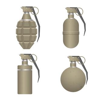 Набор реалистичных ручная граната изолированы