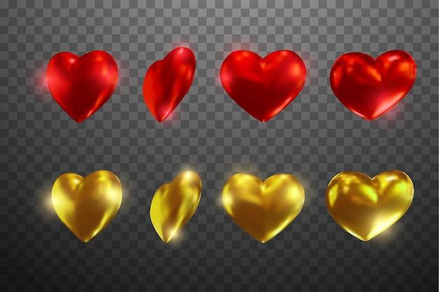 Набор реалистичных сердец под разными углами