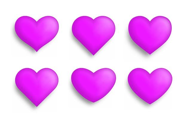 그림자와 함께 현실적인 마음의 집합입니다. 사랑 기호 아이콘 세트입니다. 발렌타인 데이.