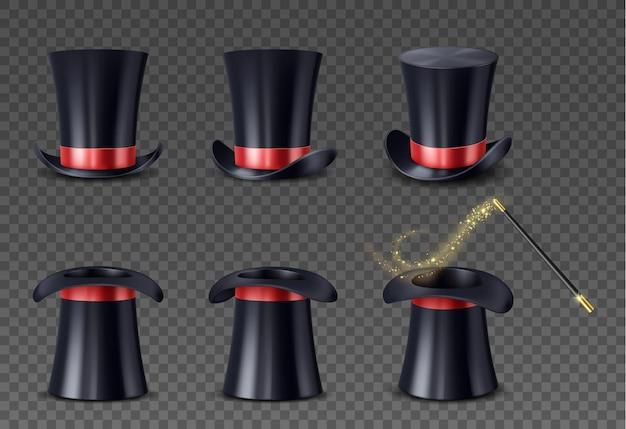 赤いリボンとスパークルトレイル付きワンドのリアルなハイキャップのセット。透明な背景に分離された魔術師の帽子と魔法の棒。イリュージョニスト機器。ベクトルイラスト