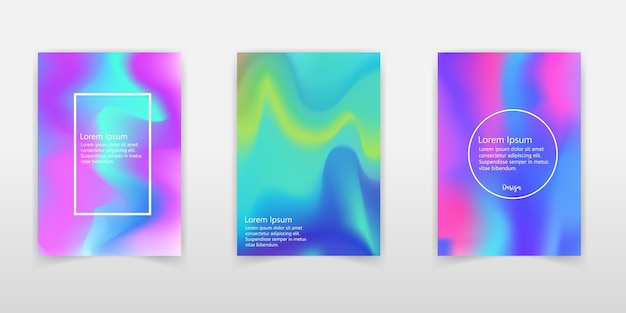Набор реалистичных голографических фоновых фонов разных цветов для дизайна.
