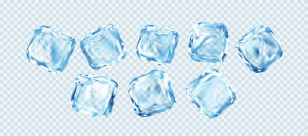 白い透明な背景で隔離の現実的な角氷のセット。本当の透明な氷の効果。ベクターイラストeps10