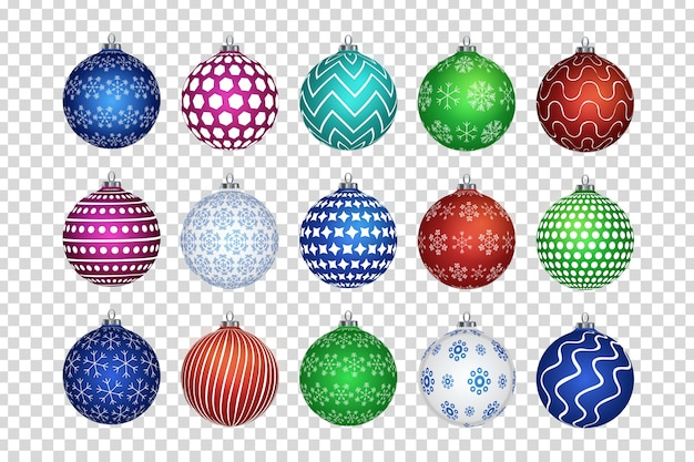Набор реалистичных изолированных новогодних шаров