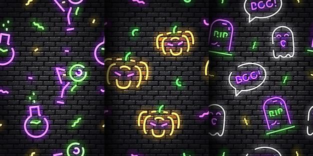 Набор реалистичных изолированных неоновых бесшовные модели хэллоуина на бесшовной стене.