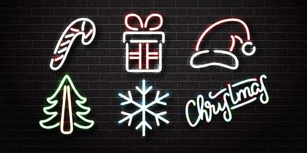 Набор реалистичных изолированных неоновых вывесок на рождество для украшения и покрытия на стене.