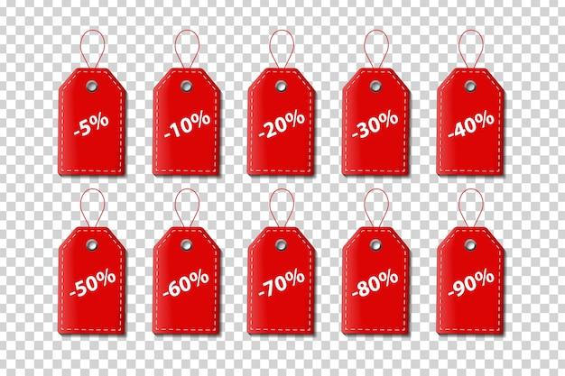 現実的な孤立した赤い値札クーポンのセット