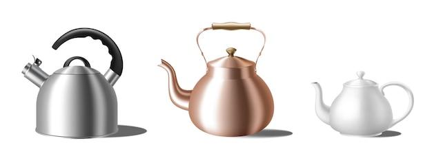 リアルなやかんのセット。さまざまなティーポット:ホイッスル付きの金属、お茶や飲み物の準備のための古典的な銅と白のセラミックティーケトル。 3dベクトル図
