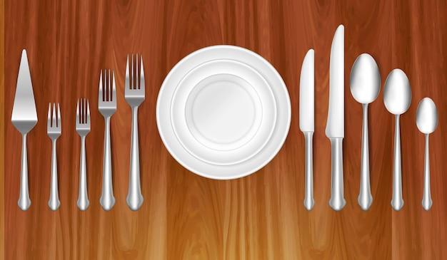 테이블 저녁 식사 개념 또는 식사 에티켓 개념 eps vect에서 현실적인 나이프 포크와 숟가락 세트