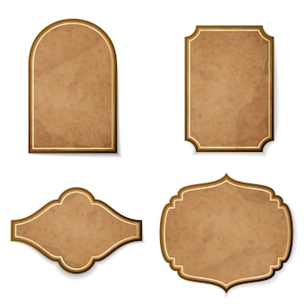 Набор кожаных реалистичных старинных векторных этикеток