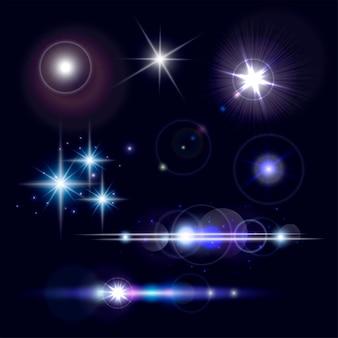 Набор реалистичных объективов вспышек звездных огней и светящихся белых элементов