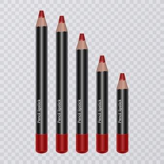 현실적인 립 펜슬 세트, 밝은 붉은 색의 립 라이너