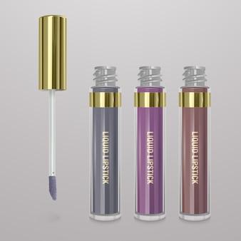 リアルなリキッドリップスティックのセットです。 3dイラスト、流行の化粧品デザイン