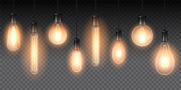 Набор реалистичных светящихся ламп, светильники, висящие на проводе. лампа накаливания. изолированный на клетчатом темном фоне