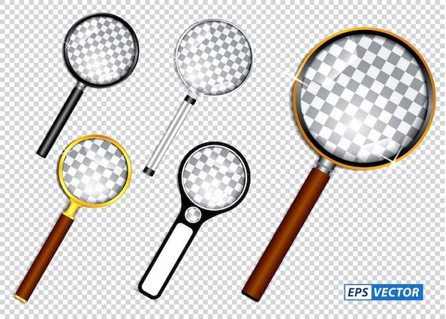 Набор реалистичных увеличительного стекла или увеличительного стекла на прозрачном фоне концепции