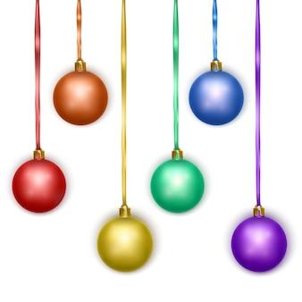 白い背景で隔離の現実的なメリークリスマスボールのセット、ベクトルeps10形式