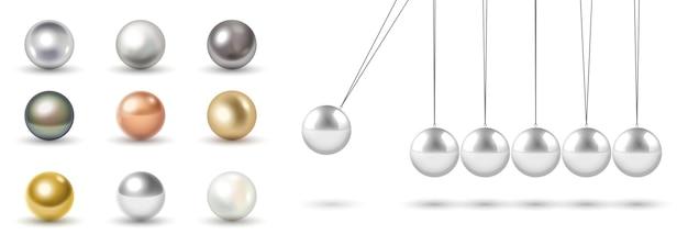 흰색 배경에 현실적인 금속 공, 광택 있는 크롬, 황금 및 청동 구체, 흰색 진주 및 뉴턴 요람 세트. 3d 벡터 일러스트 레이 션