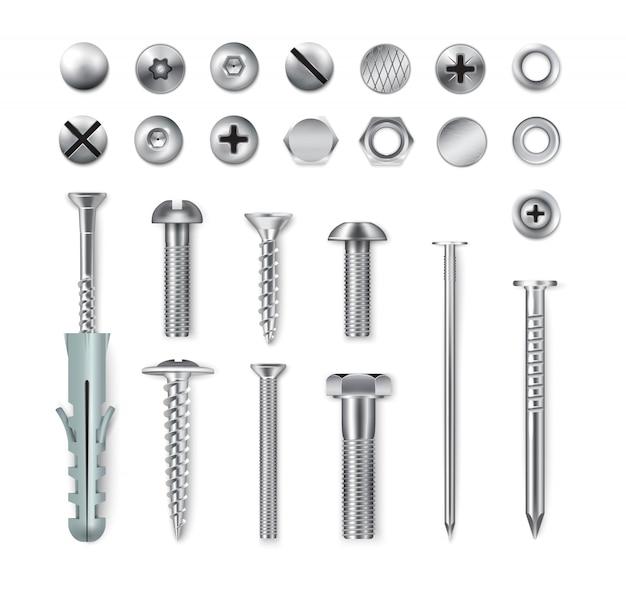 Набор реалистичных металлических крепежных элементов, винтов, болтов, гаек, гвоздей, изолированных на белом.