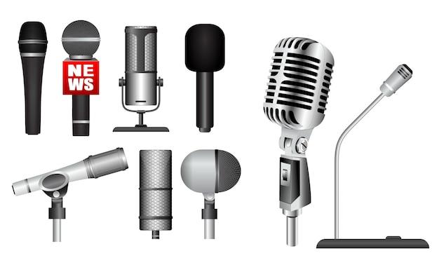 Набор реалистичного микрофона микрофон, стоящий на подиуме классический микрофон концепция набор eps вектор