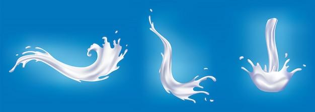 현실적인 우유 밝아진 집합입니다. 흰색 액체 또는 유제품을 붓습니다. 현실적인 천연 유제품, 요구르트 또는 크림을 광고하는 샘플