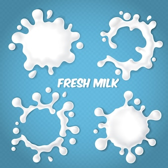 Set of realistic milk splashes with drops isolated on blue transparent background