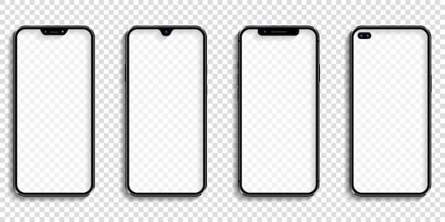 透明な画面と現実的な携帯電話のセット